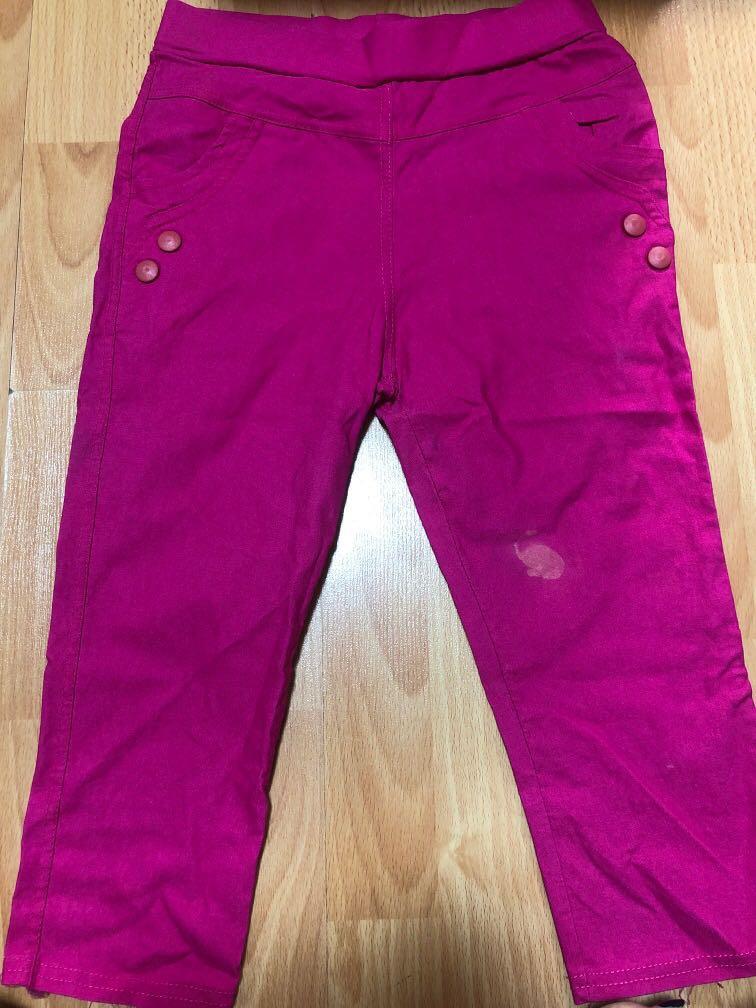 Pink half-cut pants