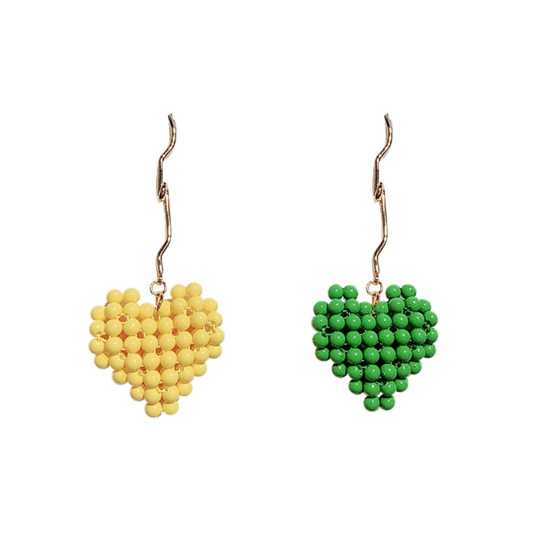 Preorder - Macaron heart shaped beaded woven heart-shaped earrings