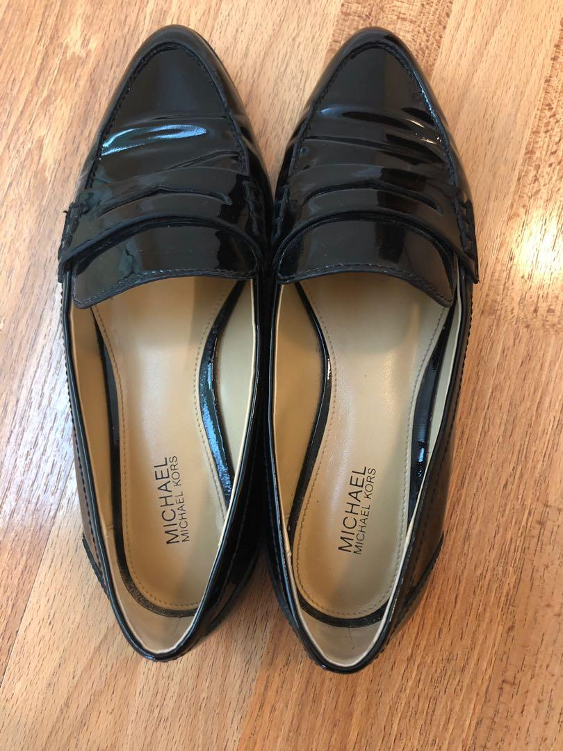 Size 5.5 Michael Kors black patent leather loafers