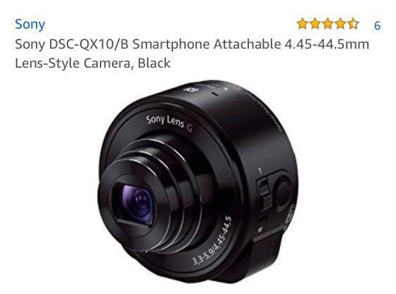 Sony DSC-QX10/B Smartphone Attachable Lens-Style Camera