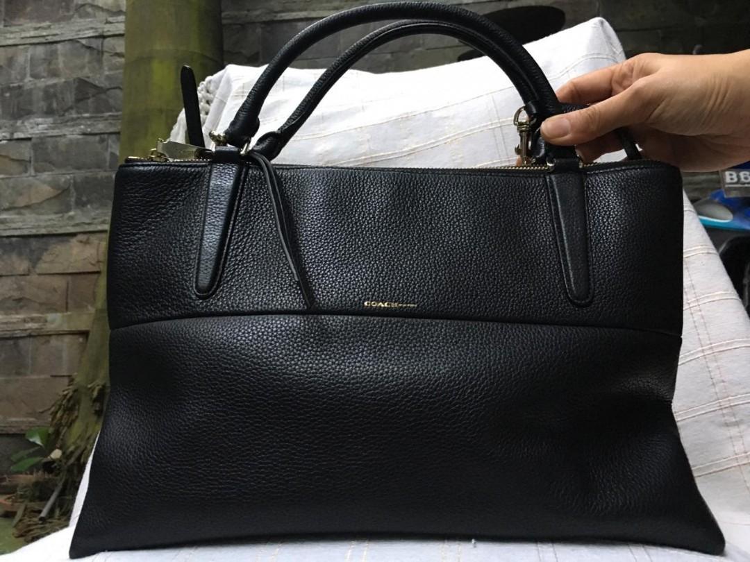 Tas Coach borough medium black leather