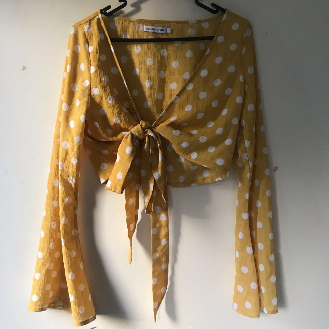 Yellow polka dot tie top