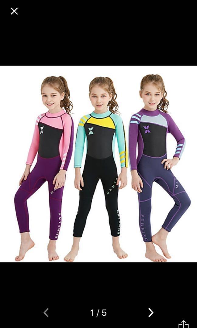 Young Girls 1 Piece 2.5mm Wetsuit -  Age 5 to 18