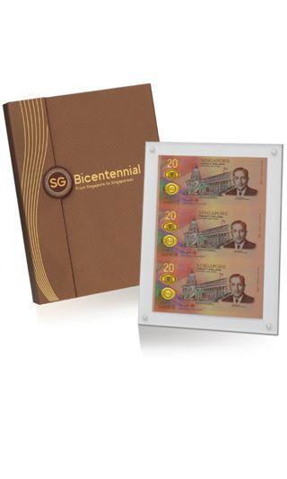 Singapore bicentennial S$20 notes  Uncut 3-1 Limited Edition( 5000 pcs )