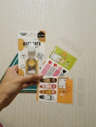 1 PAKET: Ring Holder + Lilitan Earphone + Sticky Notes
