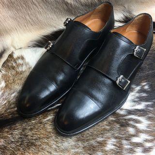 Corneliani Double Monk strap formal black shoes EU8