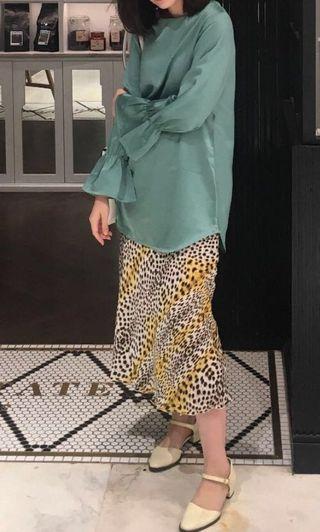 Leopard print satin slip skirt - custom made