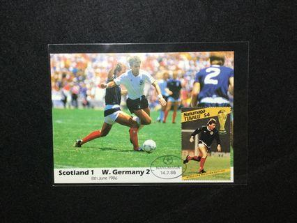 1986 Tuvalu (Nanumaga) FIFA World Cup Mexico '86 Commemorative Postcard  (Scotland 1 - W.Germany 2) #MGAG101