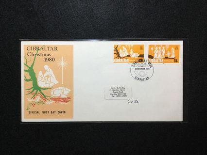 1980 Gibraltar Christmas 1980 FDC #MGAG101