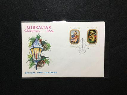 1974 Gibraltar Christmas 1974 Issue FDC #MGAG101