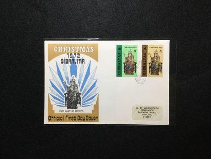 1972 Gibraltar Christmas 1972 - Our Lady Of Europa FDC #MGAG101