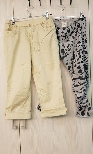 女版薄休閒leggings七分褲2件