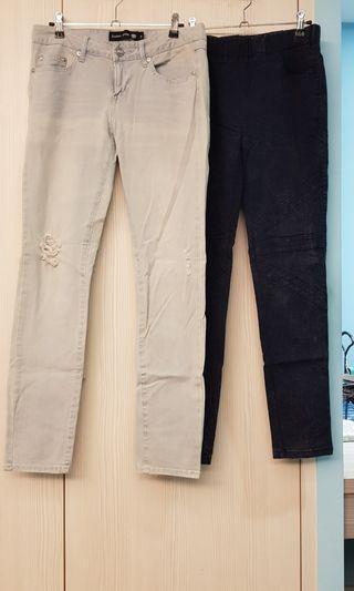 女緊身牛仔legging長褲2件