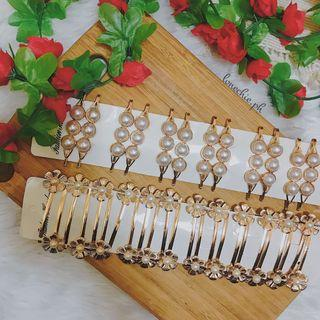 Gold Pearl Hairpins