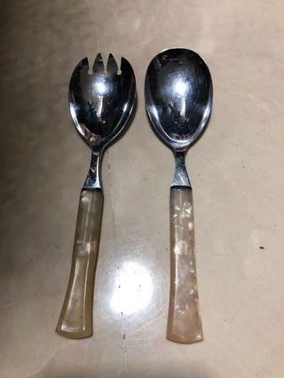 Pair of serving fork and spoon