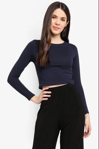 Cotton On Dark Blue Long Sleeve Crop Top