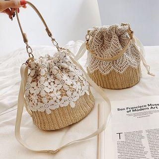 🚚 Woven straw lace bucket bag (PO)