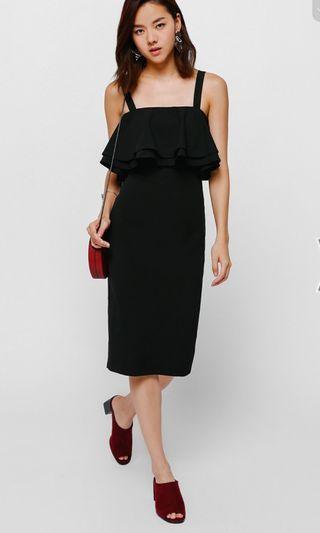 LB Olgea Layered Ruffled Dress in Black