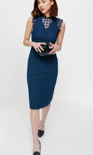 LB Cayline Crochet Overlay Midi Dress in Teal
