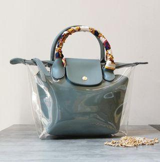 #MGAG101 HOT Fashion Transparent Bag with Scraf Code:0985 #JuneToGo
