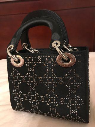 christian dior black satin bag