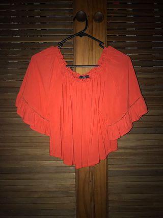 Red/Orange off the shoulder top