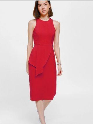 LB Wiera Asymmetrical Cascade Midi Dress in Red