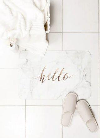 Ultra thin felt floor mat marble inspired