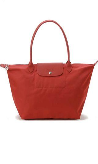 Pre-loved Longchamp Bag Neo Orange large size long handle