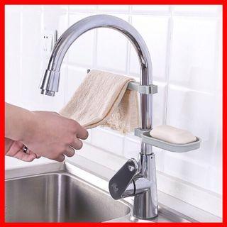 Adjustable Clip Kitchen Sink Sponge Drain Rack Cloth hanger Bathroom Soap Holder