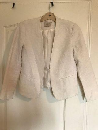 White Linen/Tweed Blazer - S
