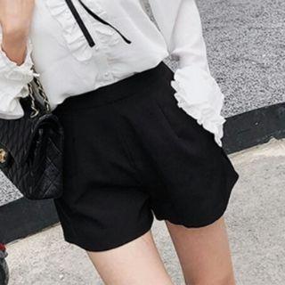 Korean High Waist Black Shorts Pants With Side Pockets