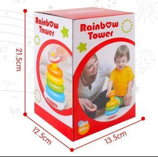 🚚 [Free Mail] Baby Toddler Toys. Stacking Tower. Rainbow Tower. Stacking Rings