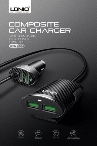 LDNIO C502 5.1A 4 Ports USB Car Charger