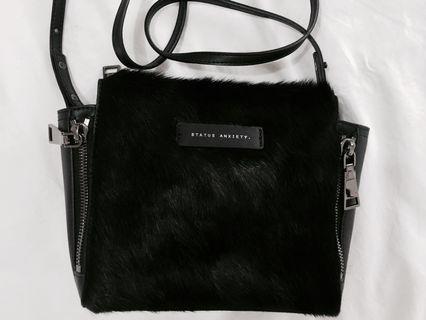 Status anxiety bag black fur leather side bag