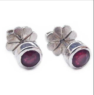 NATURAL EARRINGS ROUND RED RUBY STUDS PLATED WHITE GOLD 925 STERLING PERAK ASLI IMPORT PARTY