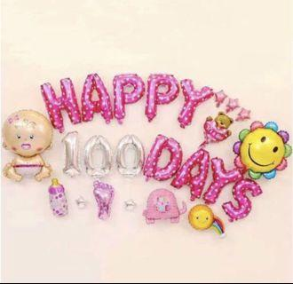 🚚 Baby Girl Happy 100 Days Party Decoration Balloons