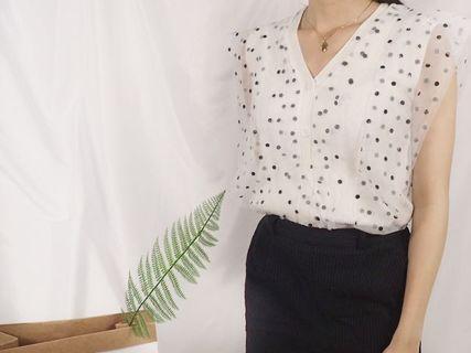 韓國黑白波點紡紗背心