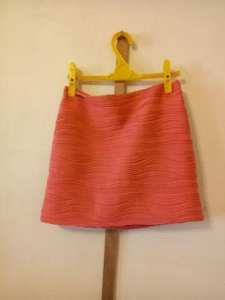 🚚 珊瑚橘線條窄裙