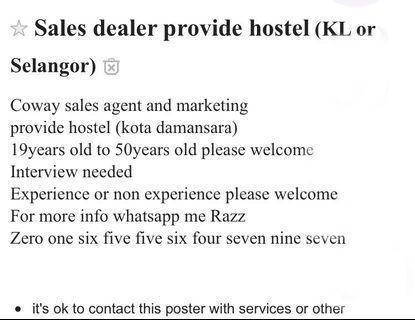 Sales Agent Team provide hostel