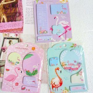 Flamingo sticky note memo pad Kawaii cute stationery school supplies