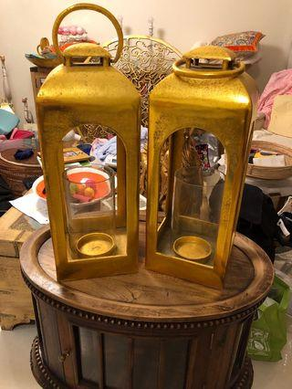 Gold wrought iron candle holders - NO FURTHER DISCOUNT
