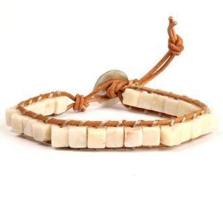 Natural Stone Single Leather Wrap Bracelet Semi Precious Stone Square