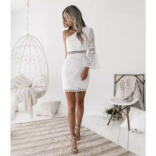 PRE-ORDER white one-shoulder lace dress