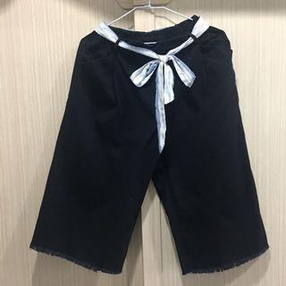 🚚 黑色 寬褲(全新鬆緊帶 腰繩可拆