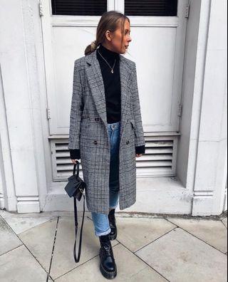 BNWT Grey/Black/White Check Coat