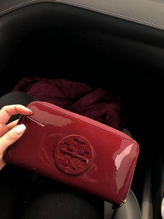 Tory Burch patent wallet in dark berry