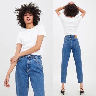 Zara Highwaist Mid Shade Denim Mom Jeans