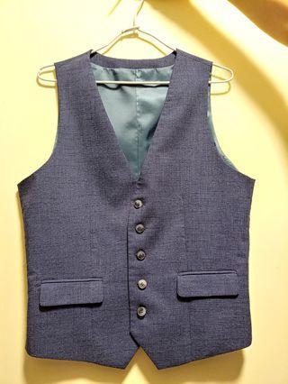 G2000 男裝西裝馬甲 藍色暗格 結婚 禮服 smart fit (size46)