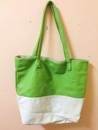Lime green pleather large tote bag